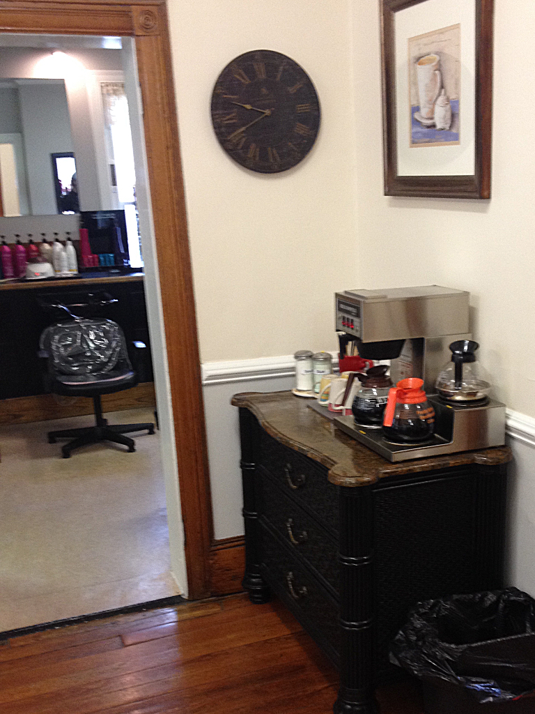 Brian Chapman Hair Salon Client Services - try our complimentary tea and coffee bar while you wait, during styling or afterwards!