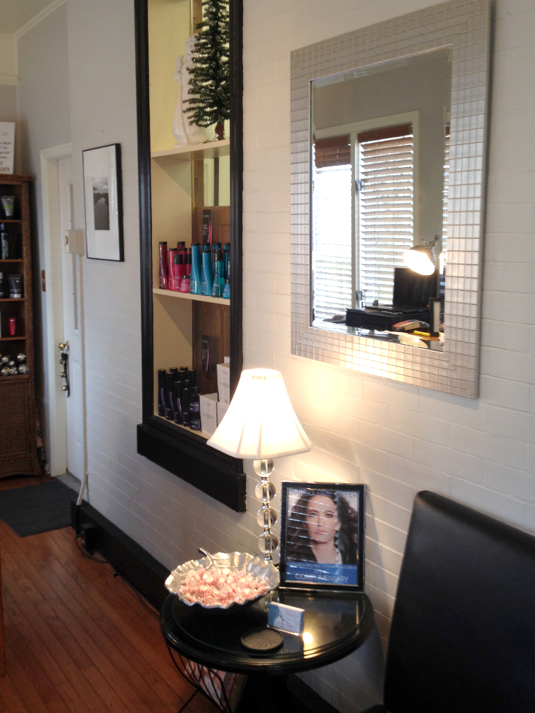 Brian Chapman Hair Salon Reception Area - relax before your appointment, shop our salon-quality products and see what other promotions we're offering!