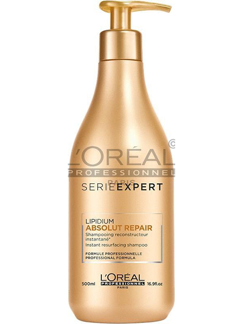 Serie Experts Absolut Repair Shampoo strengthens, repairs, replenishes, and protects even the most damaged hair.