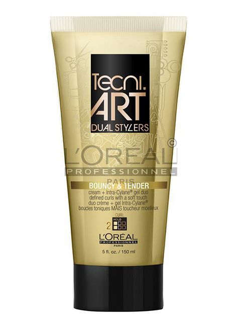 The Techni.Art styling product known as Bouncy and Tender is a curl defining gel and cream dual blow dry aid.